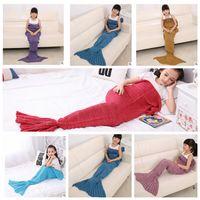Wholesale Kids Mermaid Blankets cm Handmade Mermaid Tail Blankets Mermaid Tail Sleeping Bag Knit Sofa Nap Blankets Costume Cocoon KKA692