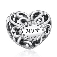 beads cz - Hot Sale Sterling Silver Openwork Hearts Mum Love With CZ Charm Beads Fit Pandora Style Bracelet Bangle DIY Jewelry Making