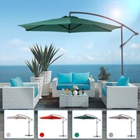 beach wind shade - IKAYAA M Adjustable Patio Garden Hanging Umbrella with Crank Cross Base Wind Vent Sun Shade Outdoor Cafe Beach US STOCK H16693