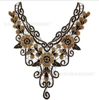 Wholesale 1piece Craft Gold Metallic Neckline Collar Flower Scrapbooking Lace Patches Embroidered Decorated Sewing Applique Trim