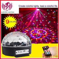 Wholesale 9 color Auto sound remote control mode MP3 Crystal magic ball stage lighting for party club stage KTV