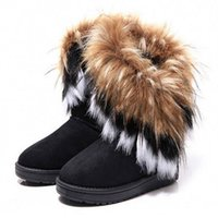Wholesale Fashion Fox Fur Warm Autumn Winter Wedges Snow Women Boots Shoes GenuineI Mitation Lady Short Boots Casual Long Snow Shoes B