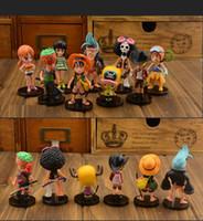al por mayor una pieza de la muñeca-Anime One Piece 64 muñecas figura de acción Juguetes 9pcs / set muñeca dibujos animados modelo niños bebé regalo