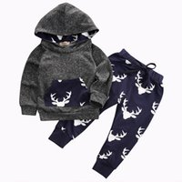 Wholesale Autumn Winter Baby Boys Girls Warm Thick Outfits Deer Hooded Top Pant Leggings Kids Clothes deer printed Kids suits