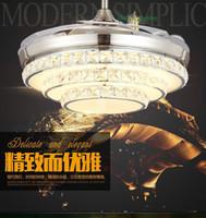 Wholesale Led modern crystal ceiling fan light invisible fan lamp simple fashion dining room fan Chandelier