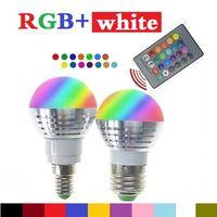 Wholesale DHL Free Ship W RGB led bulbs light E27 E26 E14 led lights RGBW rgb white led lamp ac v keys ir remote control