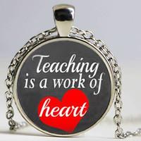 appreciation gifts - Teacher Necklace Teaching is a Work of Heart Pendant Choker Necklace Men Women Teacher Gift Teacher Appreciation Gift
