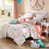 Cheap cartoon style cute deers bunnies pattern bedding sets linens combing cotton Twin Queen King size 3 4pcs duvet cover sheets sets