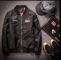 airforce jacket - The Mile Fly Military Airforce Men Bomber Carrier Long Sleeve Bomber Jacket Men Arm Chest Emblem Back Print Plane Pilot Jacket