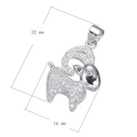 2016 Perles Chain Charms Cubic Zirconia Micro Inlay en laiton Pendentif Chèvre platine plaqué 22x16mm Trou: Environ 3,4mm 10PCS / Lot