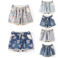 Wholesale Summer Style Women Casual Denim Shorts With Elastic High Waist Floral Star Printed For Crop Top