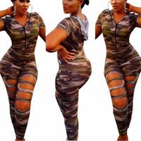 Loose big overalls - 2017 Camouflage Jumpsuit Romper Fitness Slim Bodysuit Women Romper Be Stretchy Bodysuit Overalls Big Size Rompers Womens Jumpsuit