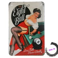 Wholesale Metal Tin Sign Black Eight Ball Pool Snooker Billiard Saloon ads Wall decor G40