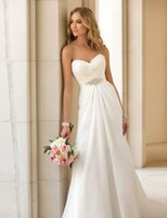 Wholesale Stock New Hot Sale Sexy White Wedding Dress A Line Sweetheart Sleeveless Chiffon Lice Up Floor Length Formal wedding Gown Bridal Gown