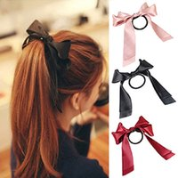 Wholesale Women Multicolor Scrunchie Ponytail Satin Ribbon Bow Hair Band Hair Rope C00079 CAD