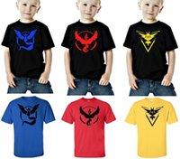 Wholesale 50pcs styles Children tops Short sleeve T shirts Poke Pattern Boys girls Pikachu Jeni turtle Charmander Valor Team Mystic Pokeball Go
