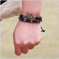 bicycling articles - Discount Pandora jewelry La cord bracelet on the rope Real leather bracelet Small adorn article Cartoon bicycle Free transportation