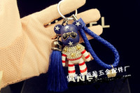bearing belt chain - hot Fashion leather key chain car key chain keyring PU belt manual car key chain tassel violence bear gifts DHL delivery