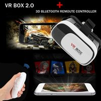 Wholesale VR BOX Google Cardboard HeadMount Version VR Virtual Reality D Glasses for inch Smart Phone Remote Controller