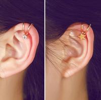 Wholesale LZ New Fashion Hot Selling Pendientes Jewelry Rhinestone Flowers Star Heart Clip Earrings For Women