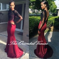 african girl dress - 2016 Black Girls Prom Dresses Sexy Black Lace Long Sleeve Evening Dress African Style Mermaid Backless Party Gowns Vestidos de festa