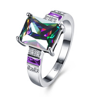 Wholesale Unique radiant color royal galaxy stone ring rings skyrim in geometric shape platinum plated ring add majesty to any occasion