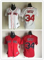baseball trends - Womens Bostons Red Sox David Ortiz Baseball Jerseys Red White Fashion Trend Home Road Alternate Sewn Jersey Lady Shirts