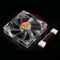 Wholesale Hot cm PC Computer Clear Case Quad Red LED Light Blade CPU Cooling Fan V