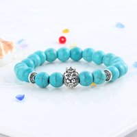 Cheap Natural Lava Stone Turquoise Prayer Beads Charms Bracelets Anti-fatigue Silver Lion Head Volcanic Rock Men's Women's Diffuser Jewelry
