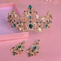 Wholesale 2016 new vintage bridal crown earrings sets party jewelry wedding accessories wedding jewelry sets