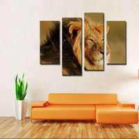 big animals pictures - 4 Picture Combination Big Male Lion Sit At Dry Grassland Wall Art Painting On Canvas Animal Pictures For Home Decora Gift
