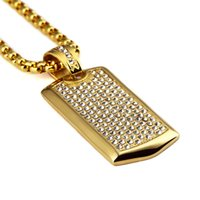 aa dog tags - Top selling Fashion Hip hop Mens High quality K Gold Plated Stainless Steel Mens Dog Tag AA crystal Pendants Necklaces Jewelry set