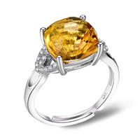 Cheap Wholesale 925 Sterling Silver 18K White Rose Gold Plated Ring Natural Citrine Gemstone Brand New Women's Fine Jewelry Wedding Gift