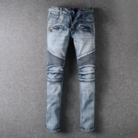 Wholesale Newest Balmain Classic Jeans Knee Drape Panel Moto Biker Jeans Light Bule Skinny Jeans Man Jeans