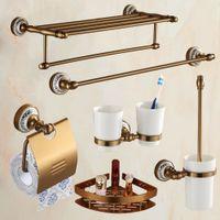 Cheap AUSWIND Bathroom Products Antique & Aluminim Bathroom Hardware Set Wall Mounted 6 Items (Towel racks shelf Brush holder tumbler)