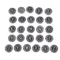 arabesque jewelry - ancient silver arabesque letter alphabet noosa chunks button snaps fit women noosa necklaces keychians bracelets noosa jewelry DHL