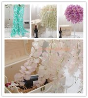 arched walls - 80PCS Artificial Silk Wisteria Flower For DIY Wedding Arch Square Rattan Simulation Flowers Wall Hanging Basket Can Be Extension