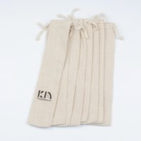 Wholesale 6x27cm DHL Muslin Drawstring Gift Bags Cotton Linen Vintage Straws Knitting Needle Pouches Packaging Case Storage Bag Jute Sacks Custom Logo