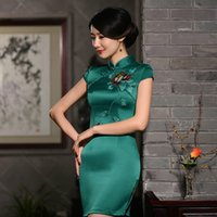 Wholesale The New Spring and Summer with Short Sleeves Hand painted Silk Cheongsam Big name Fashion To Improve Small Pure and Fresh and Slim