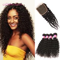 Wholesale 7A Peruvian Human Hair Deep Wave Lace Closure And Hair Weaves Peruvian Deep Curly Unprocessed Human Hair Weave Bundles With Lace Closure