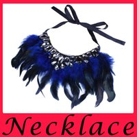 Wholesale 2016 New Fashion Feather Change Set Diamond Fashion Blue Black Green Rose Red Colorful Color Collar