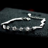 amethyst box - Silver jewelry silver bracelet female guard cute simple sterling silver zircon hypoallergenic gift