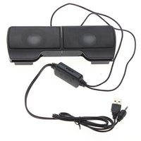 Wholesale 1 Pair Mini Portable Clipon USB Stereo Speakers line Controller Soundbar for Laptop Notebook Mp3 Phone Music Player PC with Clip