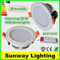 bathroom ceiling lights - Recessed LED Down lights Dimmable LED Ceiling Downlight Light W W W W W SMD LED downlights Warm Nature Cool White AC85 V