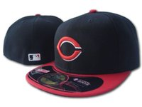 Cheap Wholesale 2016 Men's sport team fitted cap flat visor full closed design Cincinnati Reds baseball cap hats size 7-size 8 free shipping