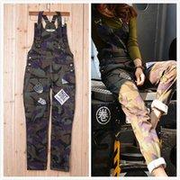 bib overall military - Camouflage Denim Overalls Ladies Harajuku Embroidery New Military Style Camo Bib Pants