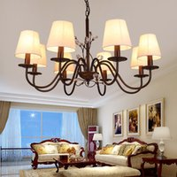 atmosphere contracts - American country droplight sitting room light atmosphere contracted the bedroom light warm cloth art lamp wrought iron chandelier pastoral
