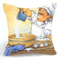 baked baker - 45CM Cushion Cover Pillow Case Throw Home Sofa Decorative Bake Cake Chef Baker