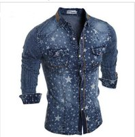 Wholesale 2016 New Fashion Denim Shirt Men Long Sleeve Fashion White Stars Pattern Design Light And Dark Blue Colors Size M XL