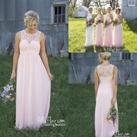 Wholesale Blush Pink New Sheer Crew Lace Neck Cheap Chiffon Bridesmaid Dress Illusion Back Country Style Maternity Long Maid Of Honor Dresses BA3570